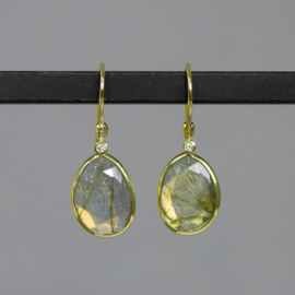 Jeh Jewels 14 karaat goud oorhangers met rutielkwarts en diamant