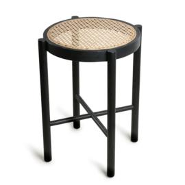 HK Living stool, black with braided rattan