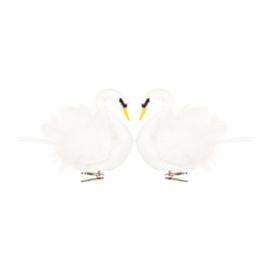 &Klevering bird clips - swan, set of 2