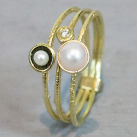 Jeh Jewels 14kt gold ring, set of three with pearls and a diamond