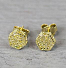 Jeh Jewels oorstekers 14kt goud hexagon