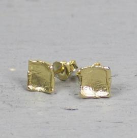 Jeh Jewels oorstekers zilver verguld vierkant