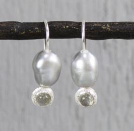 Jeh Jewels drop earrings silver with grey pearl