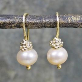 Jeh Jewels oorhangers zilver verguld lichtroze parel