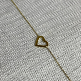 14 karaat goud armband hartje open
