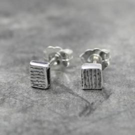Jeh Jewels oorstekers zilver met een streepjestextuur