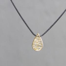 Jeh Jewels collier zilver oxy + hanger 14kt druppel
