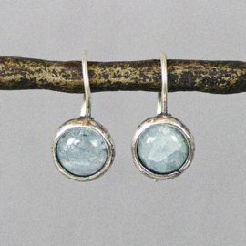 Jeh Jewels drop earrings silver oxy and aquamarine