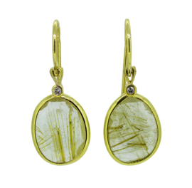 Jeh Jewels 14kt geelgoud oorhangers met rutielkwarts en diamant