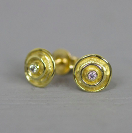 Jeh Jewels 14kt gold earring studs with diamond, double circle