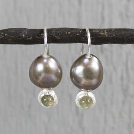 Jeh Jewels oorhangers zilver bruine parel en labradoriet