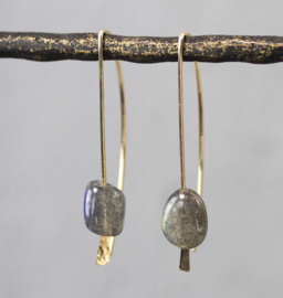 Jeh Jewels oorhangers goldfilled labradoriet