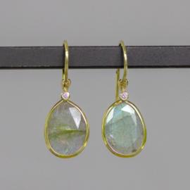 Jeh Jewels 14 karaat goud oorhangers met labradoriet en diamant