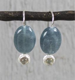 Jeh Jewels oorhangers zilver blauwe kwarts