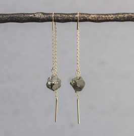Jeh Jewels threaded earrings goldplated with pyrite