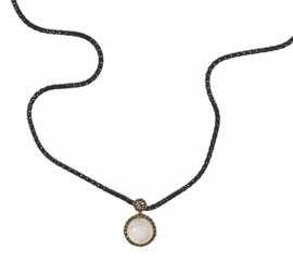 Jeh Jewels collier zilver met hanger 14k goud, maansteen en diamant 0,02 ct
