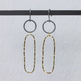 Jeh Jewels dangle earrings silver oxidized and goldfilled