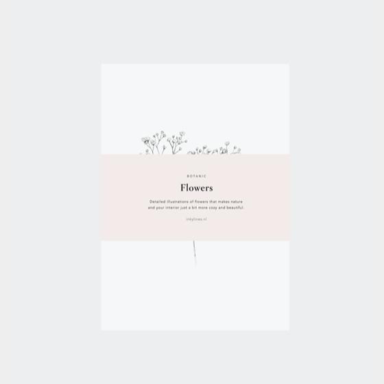 Inkylines postcard set, Flowers