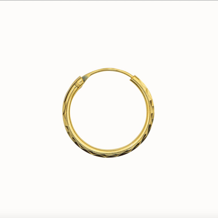 Flawed classic hoop Diamond Cut, goldplated (various sizes)