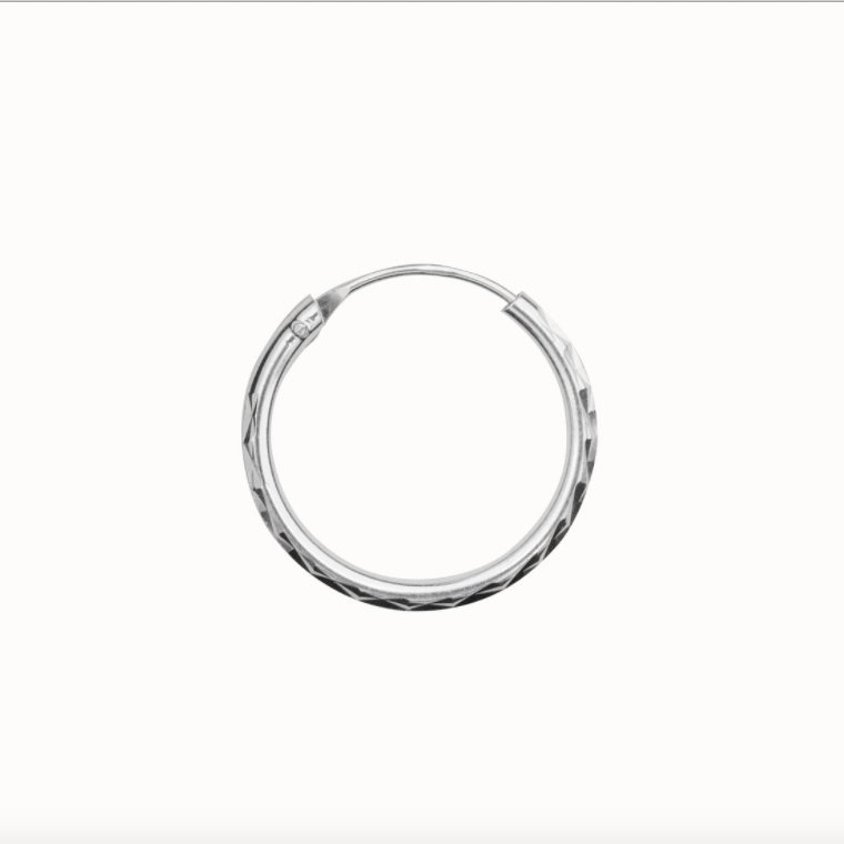 Flawed classic hoop Diamond Cut, silver (various sizes)