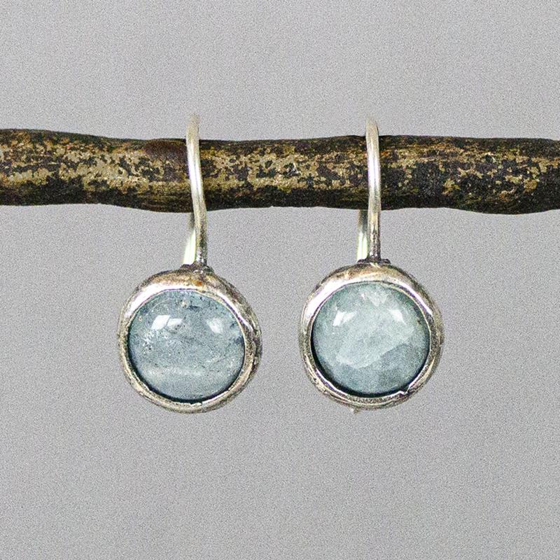 Jeh Jewels oorhangers zilver en aquamarijn