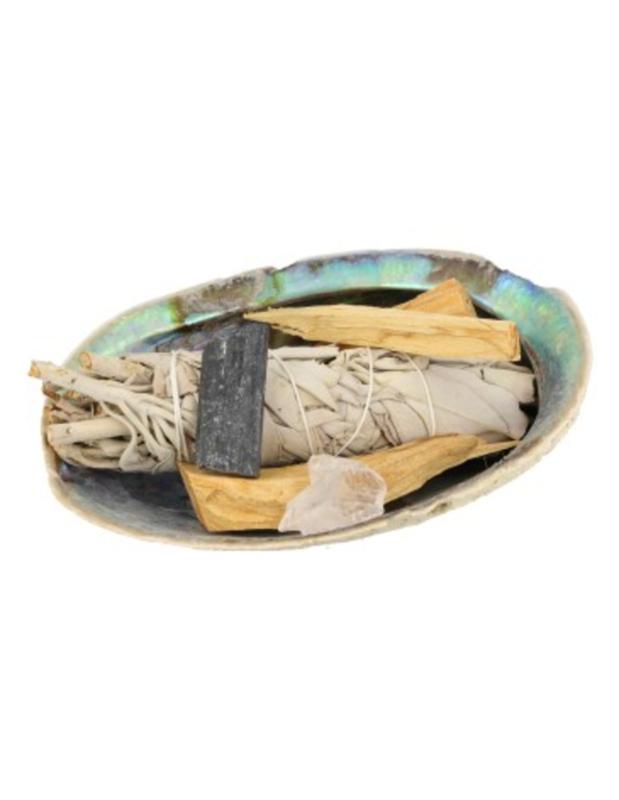 Abalone Smudge kit met edelstenen salie en palo santo