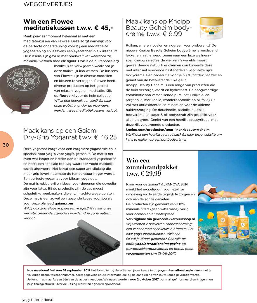 Yoga international magazine winactie alphanova sun