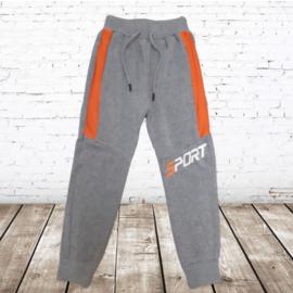 Jongens joggingbroek grijs oranje sport