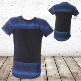 Jongens shirt zwart/blauw