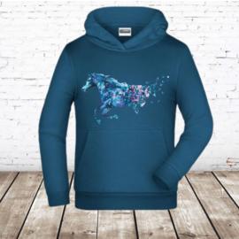 Blauwe hoodie met paard en vlinders