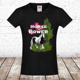 T shirt horse power zwart