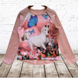 Shirt met paard zacht roze