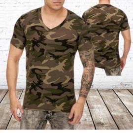 t-shirt heren army groen v hals