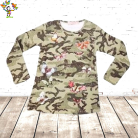 Meisjes shirt Army vlinder groen 146/152