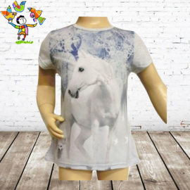 T-shirt paard wit 98/104