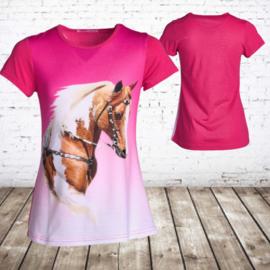 Paarden shirt roze J03