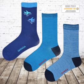 Jongens sokken vliegtuig 12 paar voordeelpak