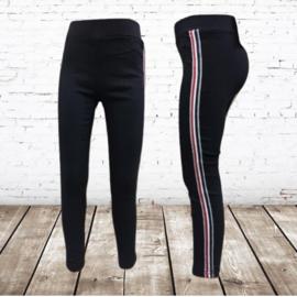 Meisjes broek streep zwart
