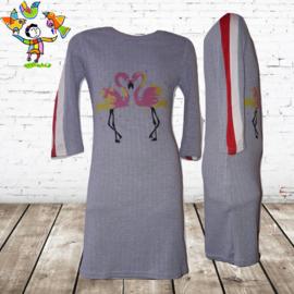 Lange jurk met flamingo blauw 14