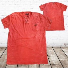 Heren shirt denim oranje