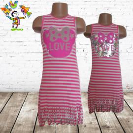 Jurk streep roze Love 98/104
