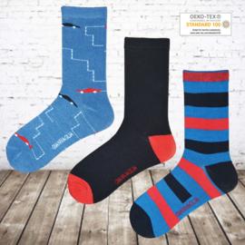 Jongens sokken auto 12 paar voordeelpak