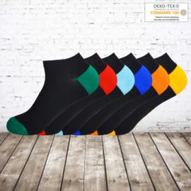 Gianvaglia Zwarte katoenen enkelsokken met gekleurde hak en teen 12 paar