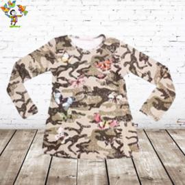 Longsleeve army vlinder creme 146/152