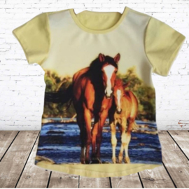 Kinder t-shirt met paard geel