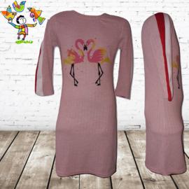 Lange jurk met flamingo roze 14