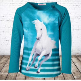 Blauwe kindertrui met paard F35