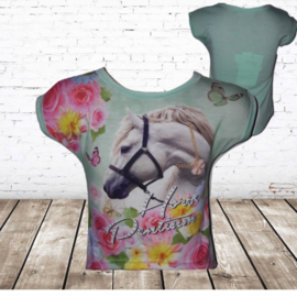 T-shirt wit paard mint bloem