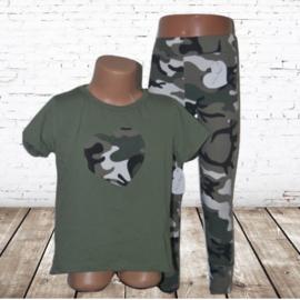T-shirt met legging army groen