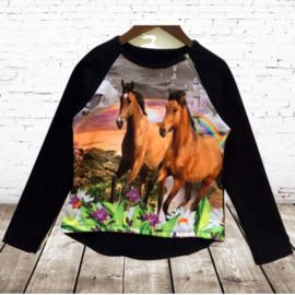 Shirt met paard zwart